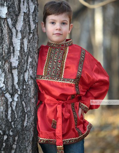d9f34dd820928 Russian clothing for kids - ethnic clothes for children. Silk Russian shirt  for boy