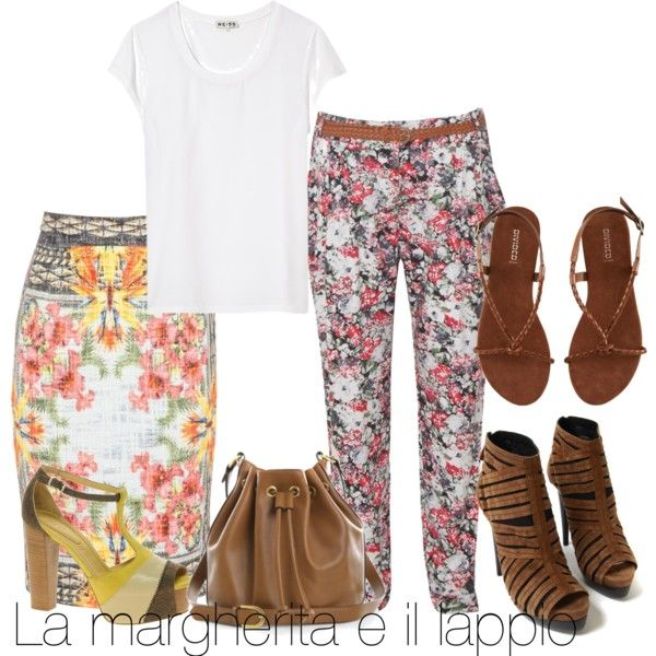 A white tee-shirt with floral pencil skirt or trousers