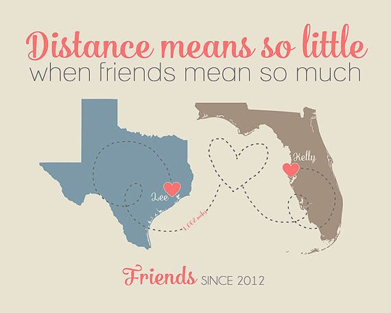 Distance means so little Quote, Custom Long Distance Friendship Maps,  Art Print - Personalized, Birthday Gift, New House, Sisters