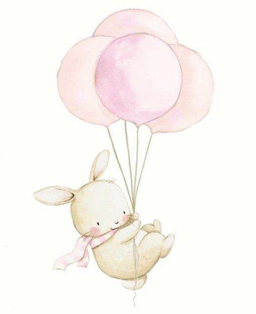 Картинки для детских работ, зайка, воздушный шар