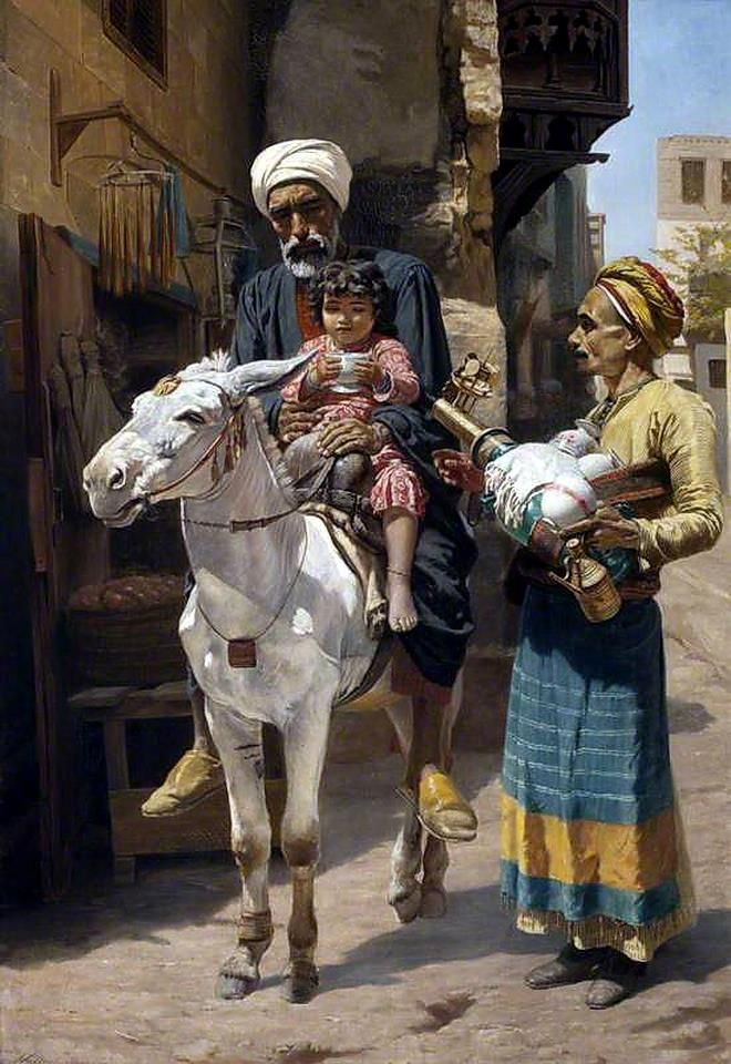 The Water Seller (A Cairo Street) 1884 by Walter Charles Horsley ( British ,1855–1934 ) Oil on canvas, 102 x 69 cm Location : National Trust, Cragside House, Rothbury, Northumberland, England