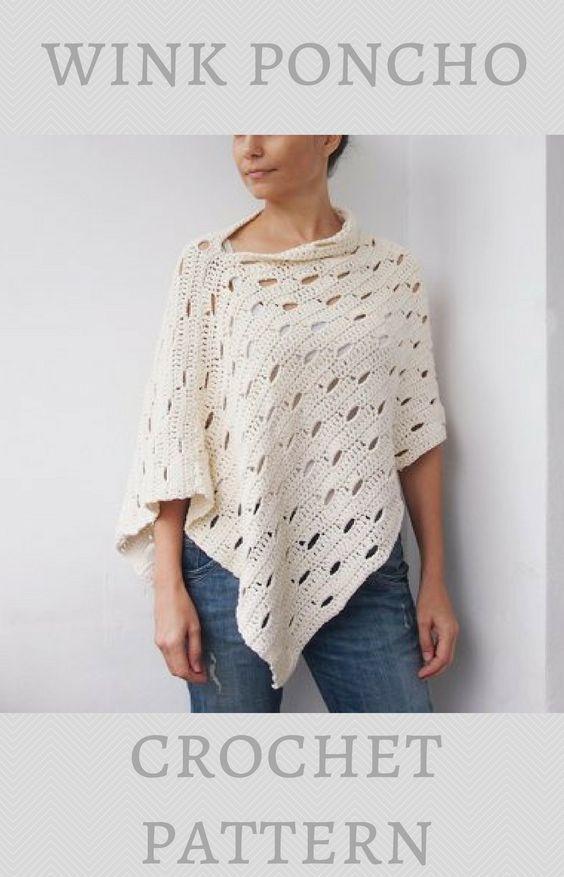 Wink poncho | sweaters and shawls | Pinterest | Crochet, Crochet ...