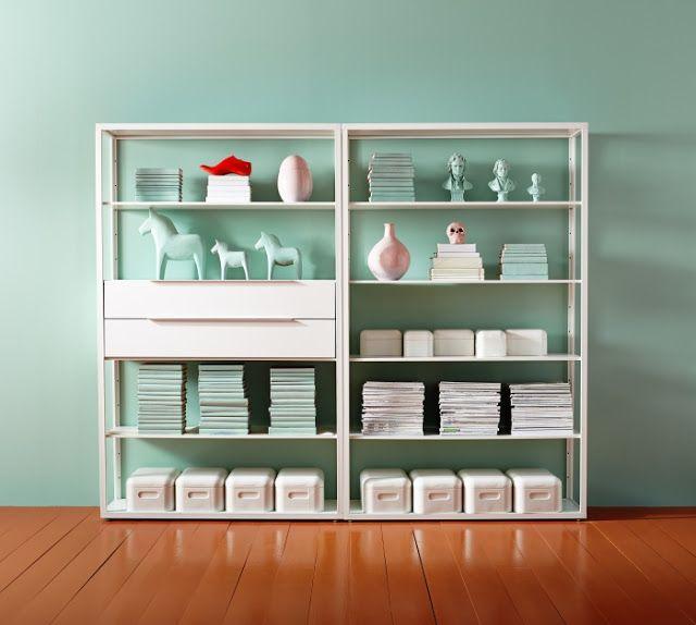 Ikea Fjalkinge bookcase via:  The Style Index : Stowaways On Display: Ikea