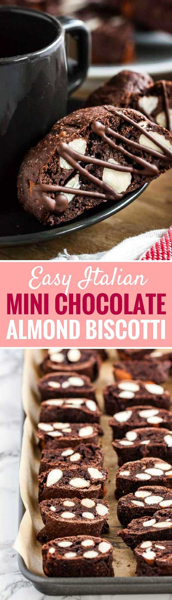 These Mini Chocolate Almond Biscotti are crunchy, studded with almonds, and easy to make from scratch. A perfect little after-dinner dessert that tastes delicious dunked into hot chocolate or coffee. You will love these Italian almond cookies! #Cookies #ChristmasCookies #Biscotti #ChocolateCookies