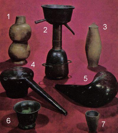 1 Aludel - Condensing 2 Moor's Head 3 Clay Vessel 4 Albemic - Distilling 5 Retort 6 Mortal 7 Crucible