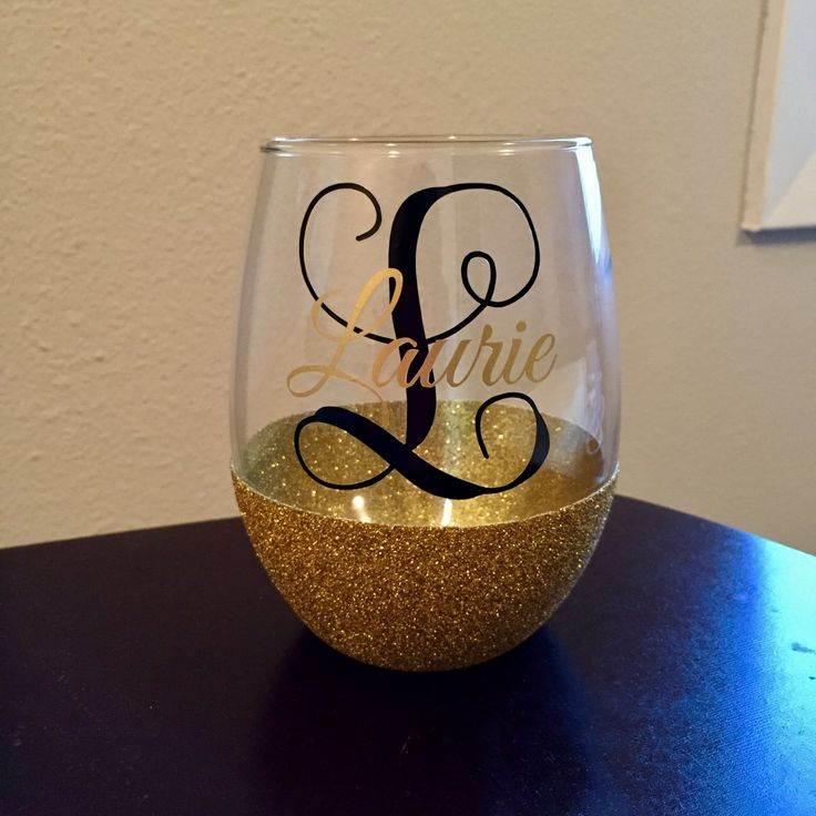 Name/Initial Glitter Dipped Stemless Wine Glass - 20 oz. by CountyRoadCustoms on Etsy