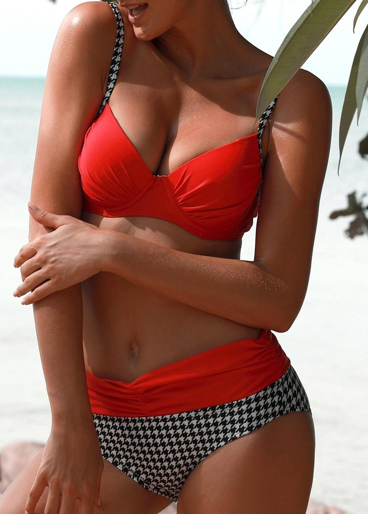 Strappy Houndstooth Print Patchwork Red Bikini on sale only US$24.00 now, buy cheap Strappy Houndstooth Print Patchwork Red Bikini at liligal.com