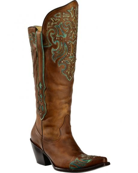 Corral Tall Turquoise Studded Wingtip Cowgirl Boots - Round Toe