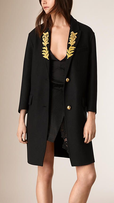 Black Regimental Cashmere Coat - Image 2