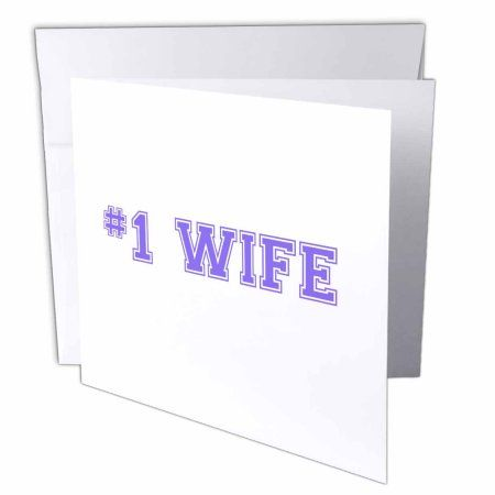 3dRose #1 Wife - Number One award for worlds greatest and best wives - purple text Wedding anniversary, Greeting Cards, 6 x 6 inches, set of 6