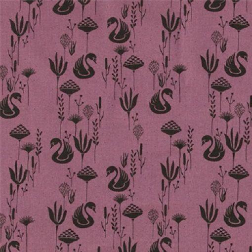 Vævet bomuld støvet rosa m svaner