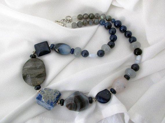 Handmade Lapis Lazuli Necklace Semi Precious Stone