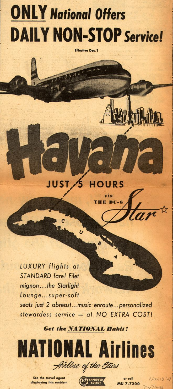 Ad from 1950s on Cuba tourism