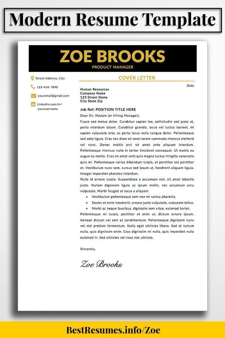 Resume Template Zoe Brooks Modern Resume Template Modern Resume