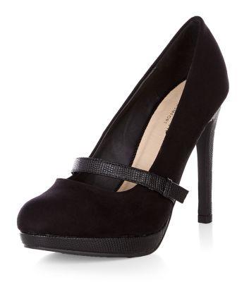 Black Comfort Contrast Bar Platform Heels