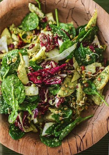 The Happy Pear house salad with pumpkin seed and parsley pesto is a lovely fresh, light leafy meal that looks fantastic. The dressing is quite sweet and cuts through the bitterness of the radicchio and chicory perfectly. Quick, easy, delicious!