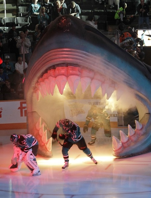 the San Jose Sharks take to the ice out of a giant shark's head