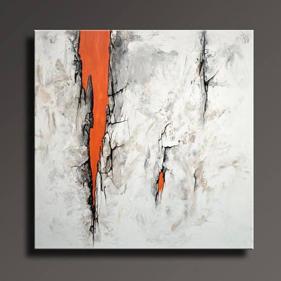 Orange Large Abstract Painting Modern Art