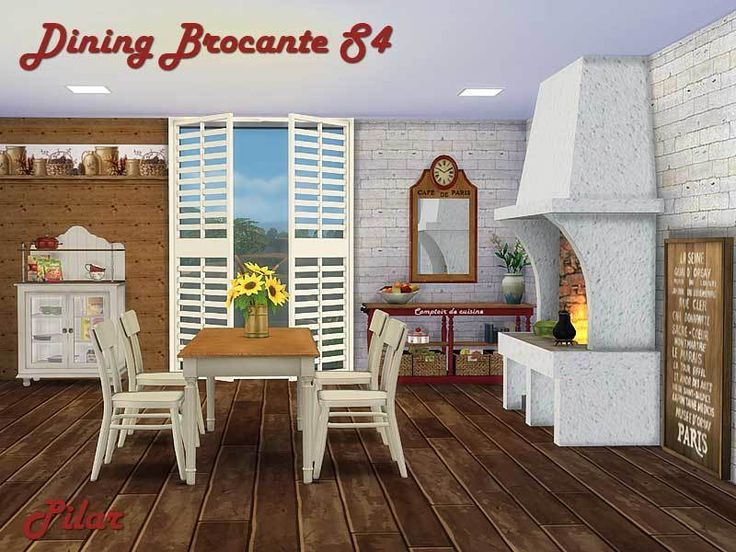 TSR Dining Brocante Rustic Charm Colors Red And White Wood The
