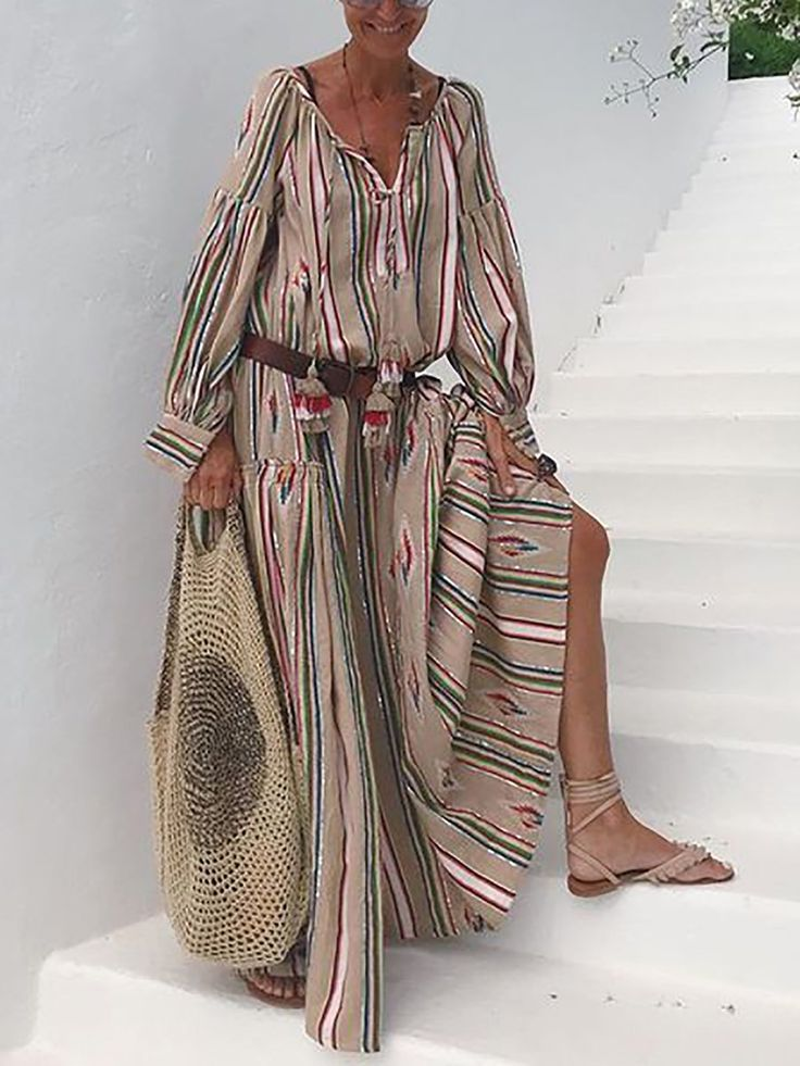 Holiday Striped Long Maxi Dresses