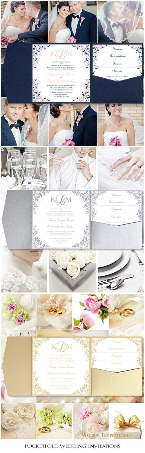 117 best Pocketfold Wedding Invitations, DIY Printable ...
