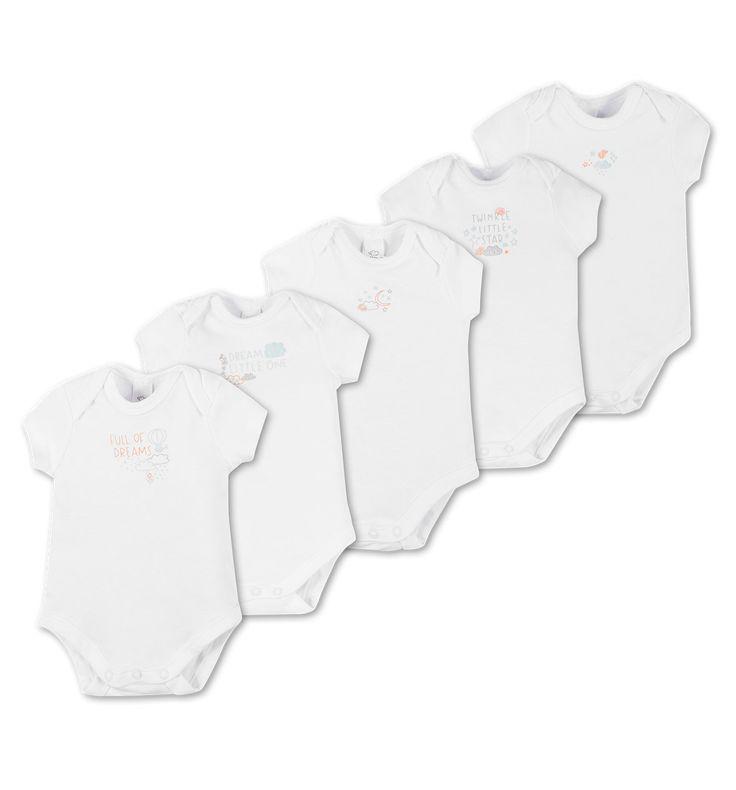 5er Pack kurzärmelige Baby-Bodies in weiß