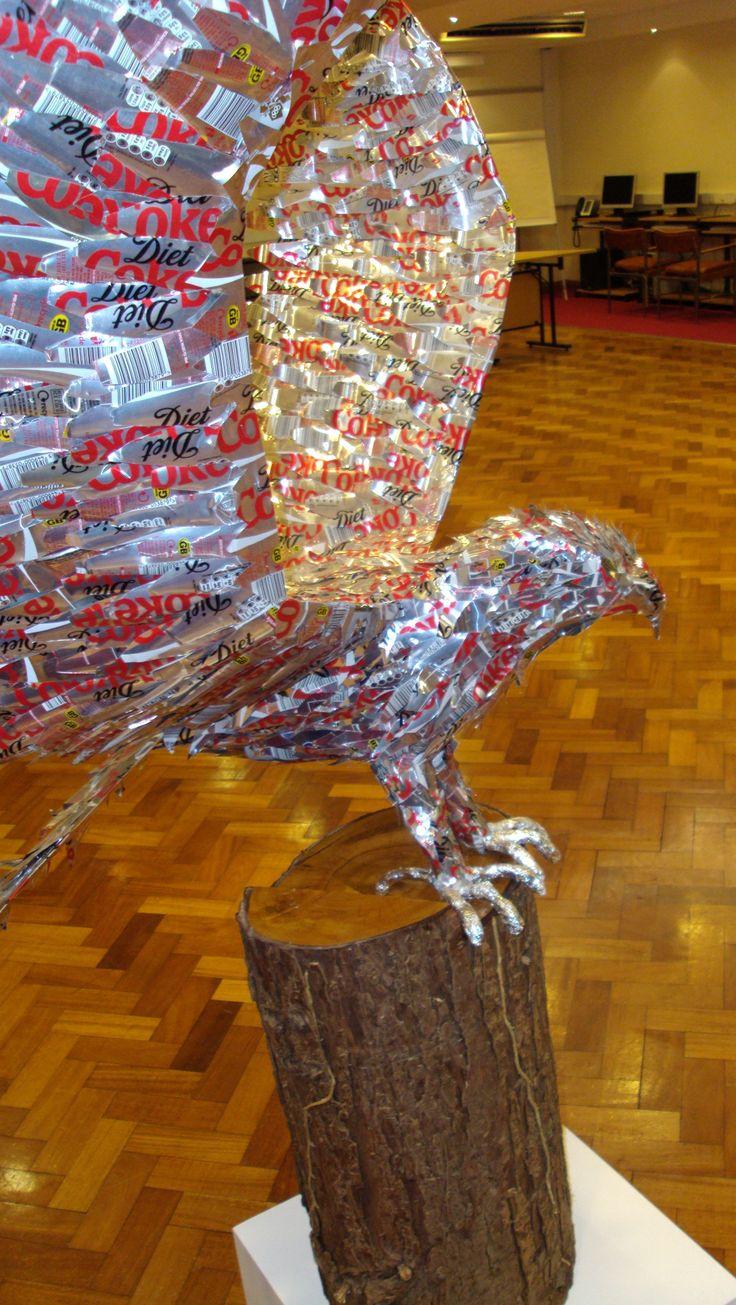 Arthur Waltons sculpture of an eagle made of diet coke cans #BlindVeteransUK #art #crafts #sculpture