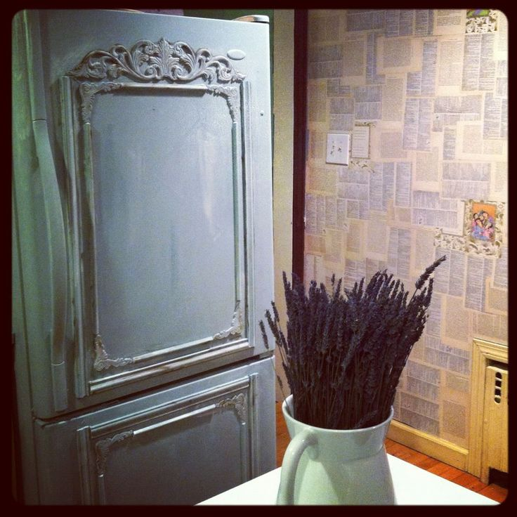 Old refrigerator painted with annie sloan chalk paint for Chalkboard appliance paint