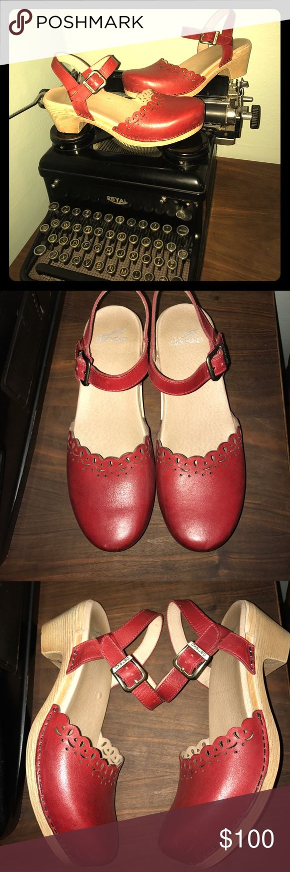 SALE Dansko leather maryjane clogs 39 8.5 8 Only worn twice (they are slightly too big on me). In great shape with a few minor rubs on leather (very subtle). Nice cushioned soles & red leather eyelet uppers. Very minor soil on outsole. There is a slight elevation of padding (a tiny spot) on footbed, see pic, but you can't feel it. I just wanted to mention it. :). These are so comfy & garnered many compliments. I wish they fit!! Leather has been conditioned by a professional. Nonsmoking home…