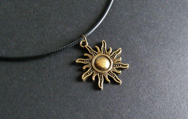 Sonnen Halskette | bronze | schwarz | grunge | gypsy | boho | alternative | 90s | 90er Jahre | Choker Kette | Baumwolle by Nesherim on Etsy