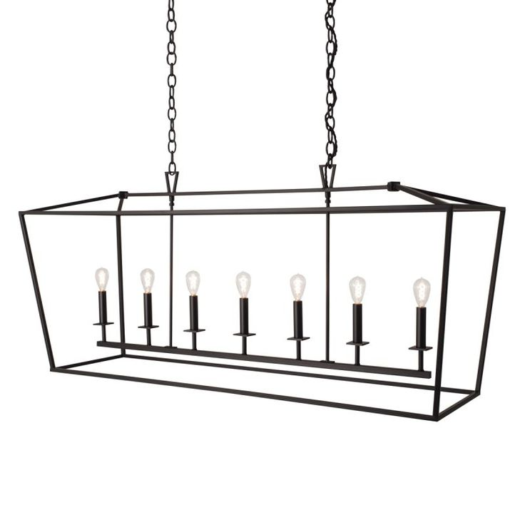 "View the Norwell Lighting 1083 Cage 7 Light 54"" Wide Linear Chandelier with Steel Cage at LightingDirect.com."