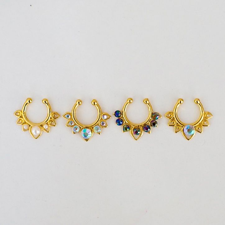 NEW IN    Goddess clip-on septum piercings. These beauties are handmade, which means that not two will be exactly the same, it is for those who wants something unique and is not afraid to stand out....