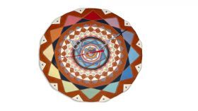 Ceramic clock mandala mod. Tropea Ceramic Round clock with mandala drawing engraved pendulum consists of two small mandala and a drop, colored with lands, fired at 980 degrees.