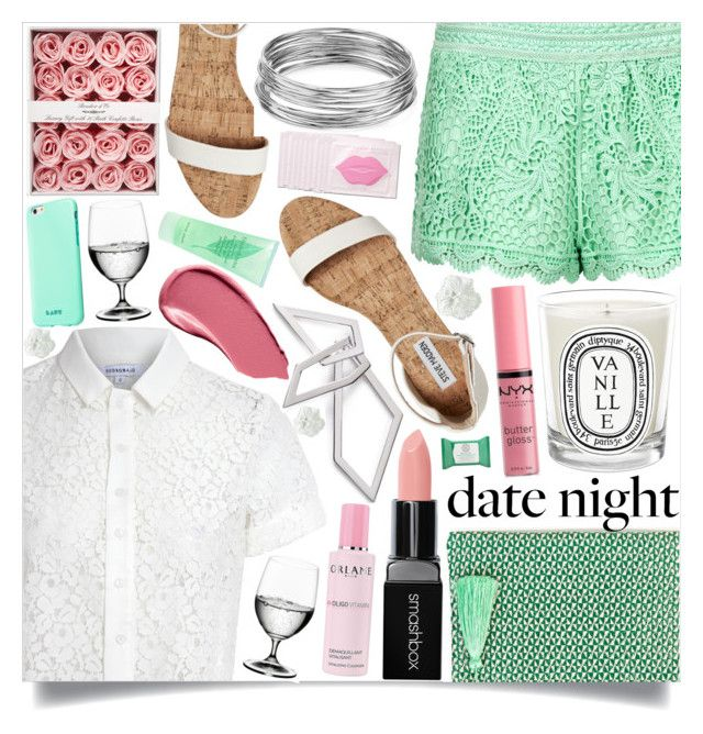 """Summer Date Night"" by marina-volaric ❤ liked on Polyvore featuring Topshop, Glamorous, Rae Feather, Riedel, Diptyque, Smashbox, W. Britt, Aqua, NYX and WALL"