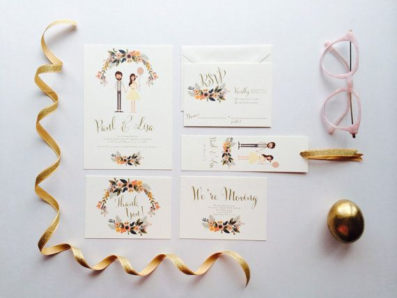 Playful Couple Wedding Invites /// Illustrated by heartandfox