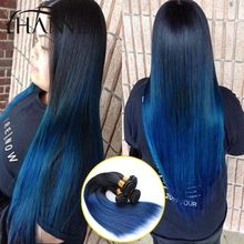 Straight Ombre Human hair bunldes 3pcs1B#blue Remy Hair Extensions ombre weave 2 Tone Blue Weft HANNE Colorful Hair Products(China (Mainland))