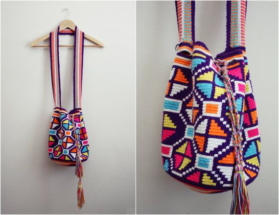 Wayuu Bag  Hand woven Mochila Bag by PARASOLvintage on Etsy
