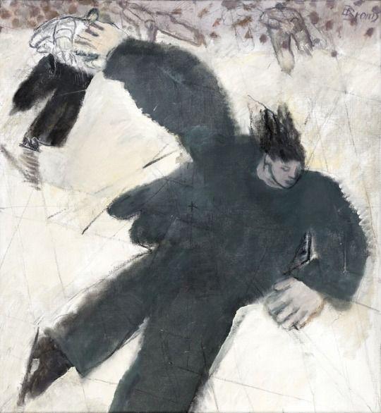 Birgit Broms (Swedish, 1924-2008), Skridskoåkare [Skater]. Oil on canvas, 79 x 73 cm.