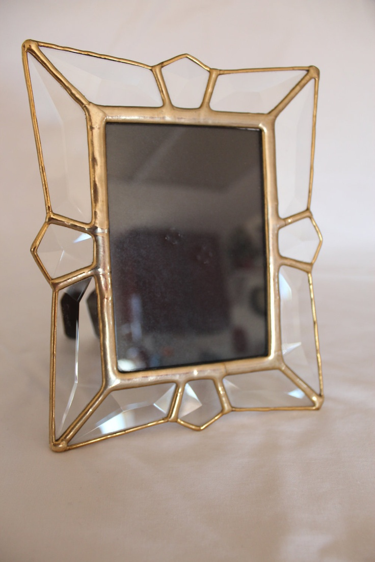 reserved stained glass clear bevels picture frame. Black Bedroom Furniture Sets. Home Design Ideas
