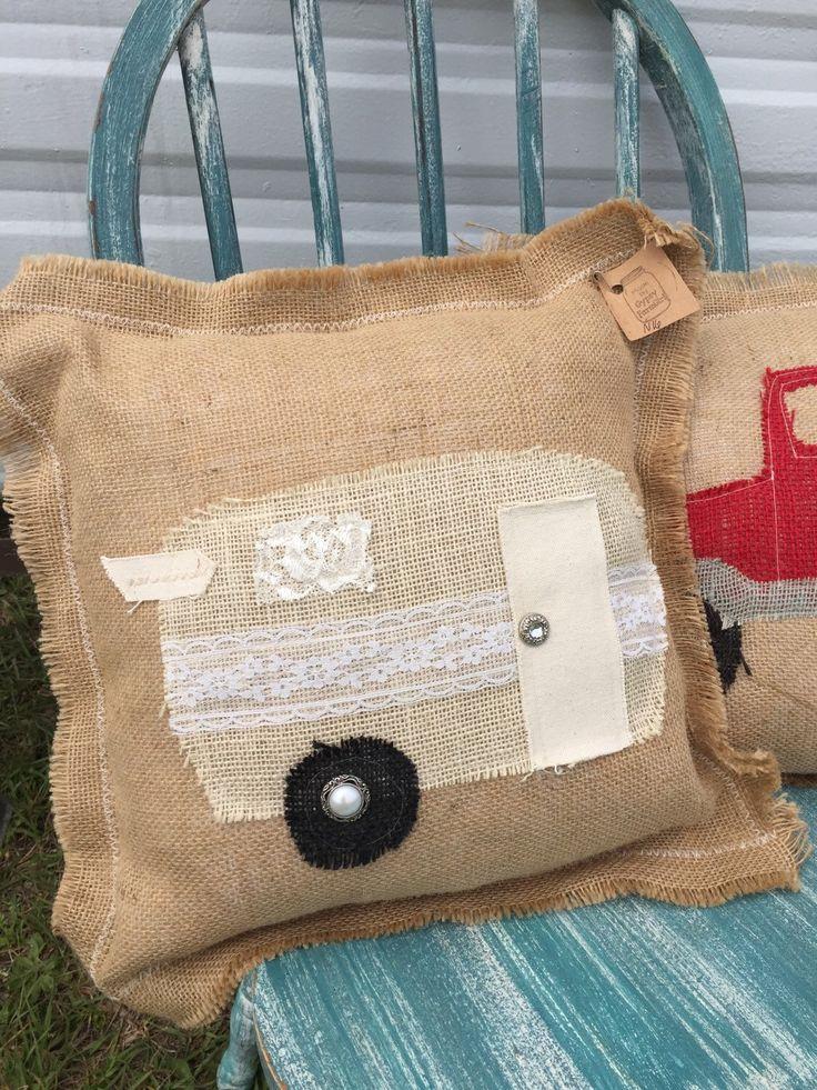 Burlap and Lace glamper pillow / shabby chic vintage camper pillow / decorative pillow / happy camper N16 by GypsyFarmGirl on Etsy https://www.etsy.com/listing/287027459/burlap-and-lace-glamper-pillow-shabby
