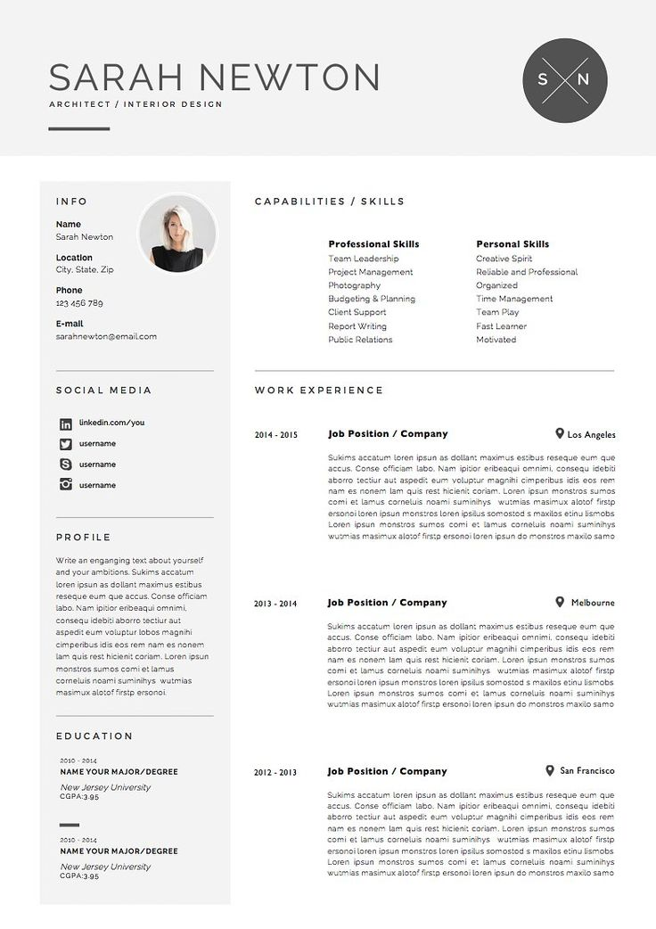 21 best Professional Resume CV Templates images on Pinterest - mac pages resume templates