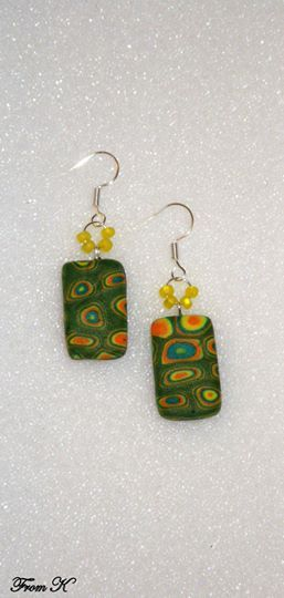 "Drop dangle earrings. Stylish, brick-like, earrings were handmade from polymer clay. A ""millifiori"" polymer clay design. Quite unique and never to repeat itself! This cheerful, spring combination of colors will add charm to any outfit. About 4 cm long with ear piece. 10.00 Ron"