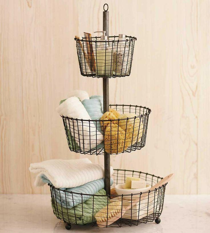 123 best bath shower storage images on pinterest for Bathroom basket storage ideas