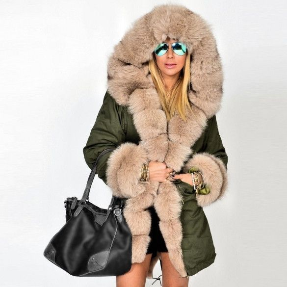 New Women Winter Long Warm Thick Parka Faux Fur Jacket Hooded Coat