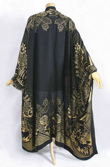 Deco metallic brocade evening wrap, c.1924, from the Vintage Textile archives.