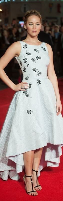Who made Jennifer Lawrence's white print dress that she wore in London?