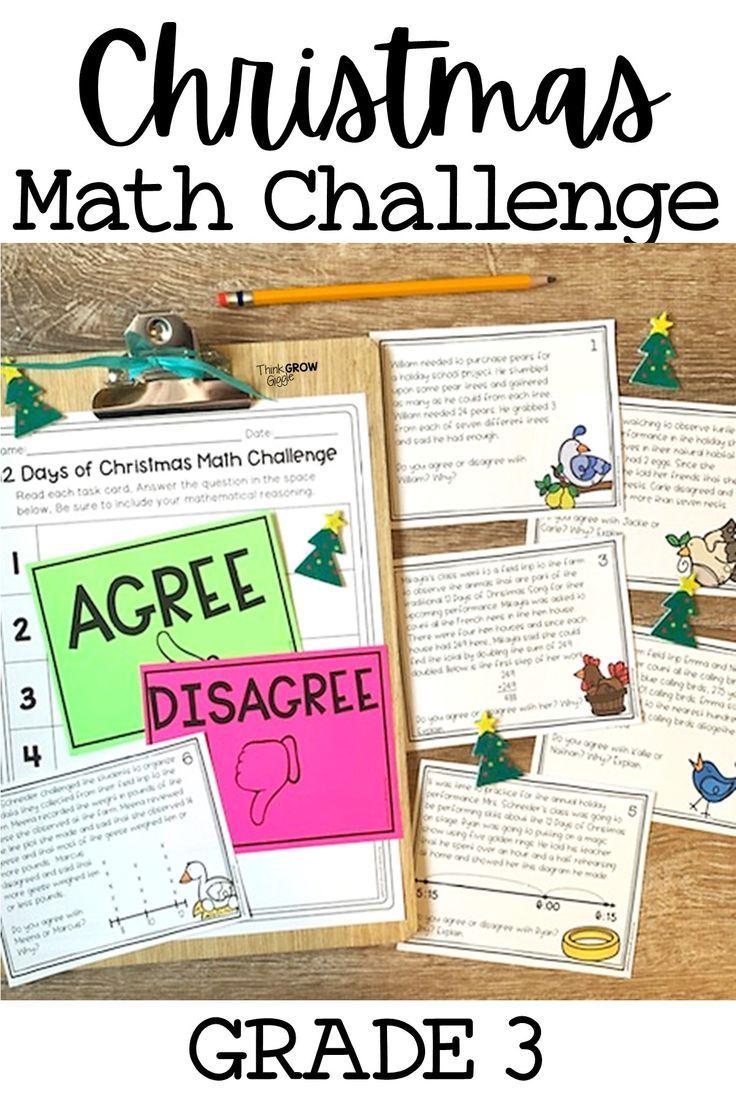 50 Off 12 Days Of Christmas Math Challenge Task Cards Christmas Math Activities Math Challenge Activities Math Challenge [ 1104 x 736 Pixel ]