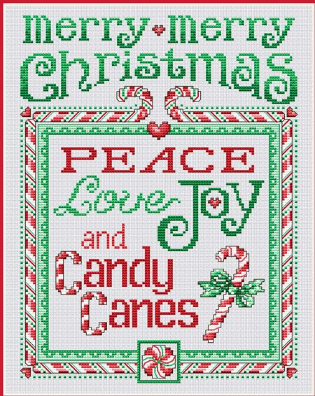Peace and Candy Canes - Cross Stitch Pattern                                                                                                                                                                                 More
