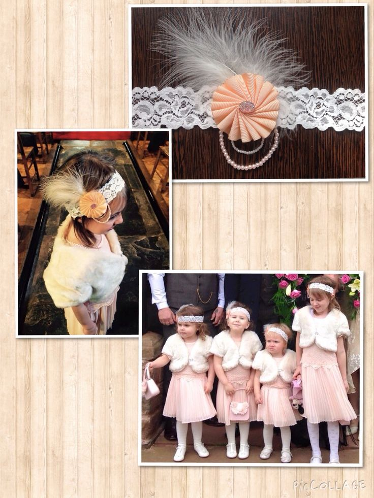 Handmade bespoke flower girl hair accessories from Lilly Dilly's #wedding #bespoke #vintage #gatsby #charleston #peach #flowergirl