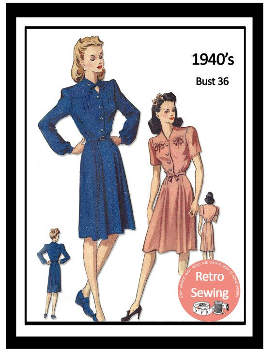 1940s Wartime Frock Sewing Pattern   Full Size by MyVintageWish